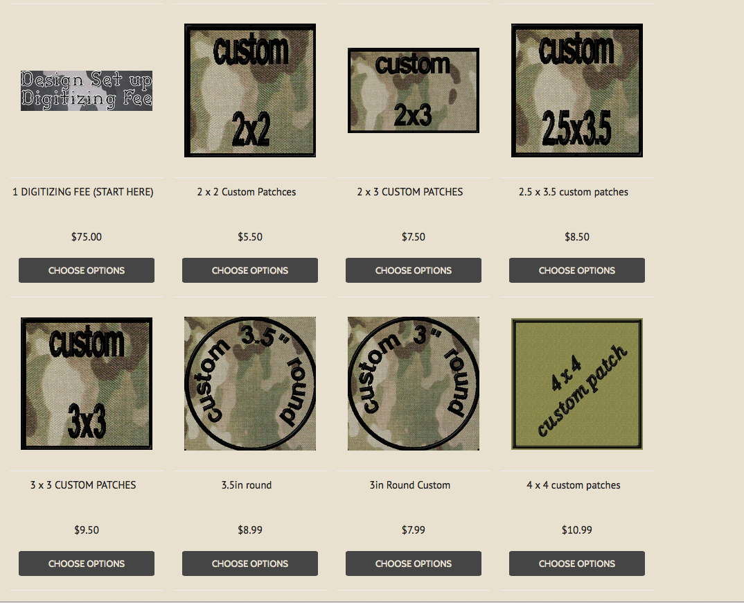 Custom Patch sizes at OMLpatches.com