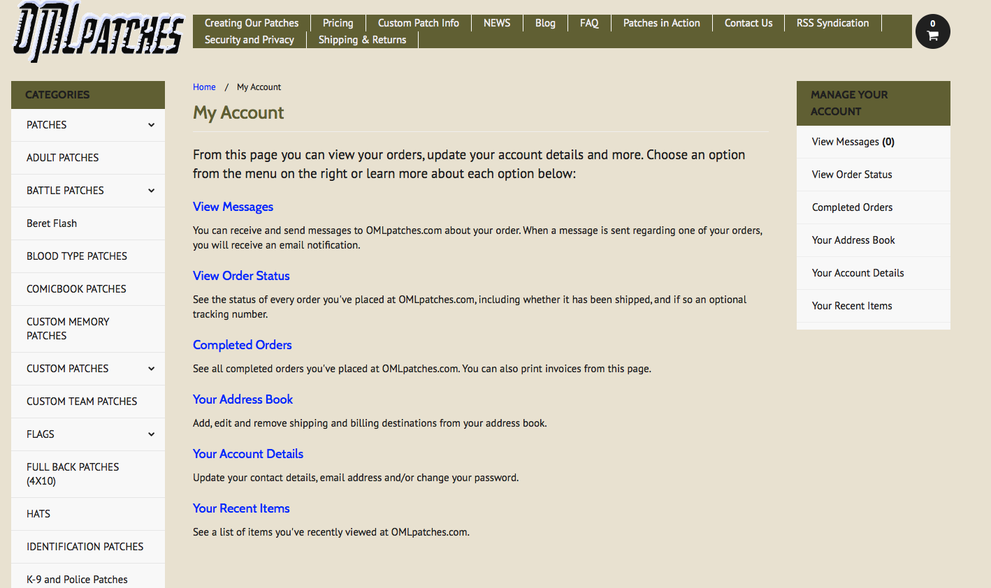Options when you sign into your account at OMLpatches.com